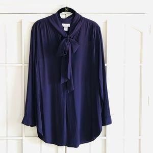 🌟NWOT LOFT Purple/Plum Pussy-Bow Blouse